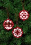 "015626 Permin Kit Christmas Red Bulb Ornaments (Set of 3 assorted) 2.8"" x 2.8""; White Hardanger; 22ct"