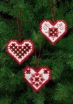 "015627 Permin Kit Red Heart Ornament (Set of 3 assorted) 3"" x 2.8""; White Hardanger; 22ct"