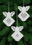 "015653 Permin Kit Angel Ornament (Set of 3 assorted) 3.4"" x 4.2""; White Hardanger; 22ct"