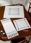 "274861 Permin Kit Hardanger with Blue Table Topper (top) 26"" x 26"" ; White Hardanger; 22ct"