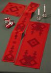 """103655 Permin Kit Red Table Topper (Upper Left); 12"""" x 12""""; Hardanger - Red; 22ct"""
