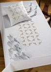 "580599 Permin Kit Stars Table Cloth 54"" x 89.6""; Hardanger - White; 22ct"