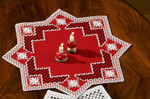 "100687 Permin Kit Table Topper 15.6"" x 15.6""; Red Hardanger; 22ct"
