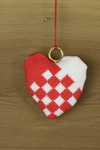 "016250 Permin Woven Heart Ornament Brass ring included.; 3.2"" x 3.2""; White Aida ; 14ct"