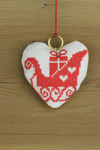"016252 Permin Red Sleigh Ornament Brass ring included.; 3.2"" x 3.2""; White Aida ; 14ct"