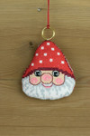 "016253 Permin Elf Head Ornament Brass ring included.; 3.2"" x 3.2""; White Aida ; 14ct"