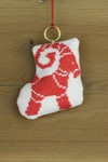 "016255 Permin Stocking with Buck Ornamentt Brass ring included.; 3.2"" x 3.2""; White Aida ; 14ct"