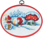 "126297 Permin Elfs with Fire with Hoop 7.2"" x 5.2""; White Aida ; 16ct"