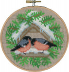 "136240 Permin Kit Bullfinch with Hoop 5.2""; Natural Linen; 26ct"