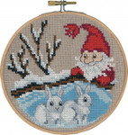 "136241 Permin Kit Rabbits & Elf with Hoop 5.2""; Natural Linen; 26ct"