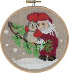 "136242 Permin Kit Elf & Owl with Hoop 5.2""; Natural Linen; 26ct"