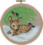 "136243 Permin Kit Deer in Snow with Hoop  5.2""; Natural Linen; 26ct"