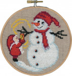 "136244 Permin Kit Snowman & Elf with Hoop 5.2""; Natural Linen; 26ct"