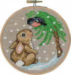 "136245 Permin Kit Rabbit & Finch with Hoop 5.2""; Natural Linen; 26ct"