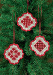 "016618 Permin Kit Three Christmas Hardanger Orn - White with Red 2.6"" x 3""; Hardanger - White; 22ct"