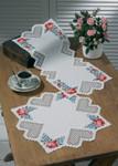 """103870 Permin Kit Heart Hardanger  Table Topper (bottom) 16"""" x 16""""; Hardanger; 22ct"""