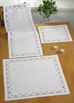 """275876 Permin Kit White Table Cloth (Bottom) 26"""" x 26""""; White Hardanger; 22ct"""
