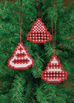 "016619 Permin Kit  Three Christmas Bell Hardanger Orn - White with Red 3"" x 3.2""; Hardanger - White; 22ct"