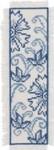 "056168 Permin,  Blue Flower Bookmark 2.8"" x 8.8"" Ecru Aida 14ct"