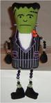 """Frankenstein Groom 7.75"""" x 4.5""""  Mesh Sew Much Fun Halloween"""