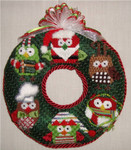 "Owl Wreath 6"" x 6""  Mesh Sew Much Fun CHRISTMAS ORNAMENT"