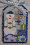 "Hanukah Snowman	 5"" x 3"" 18  Mesh Sew Much Fun Tag"