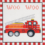 AP3653 Woo Woo Fire Truck Alice Peterson Design 13 Mesh 7.25 x 7.25 !