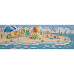 AP2716 Day at the Beach Scene Alice Peterson 13 Mesh 18 X 6 !