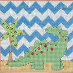 AP3580 Green Brontosaurus Alice Peterson 13 Mesh 7 X 7 !