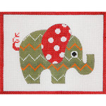 AP3645 Green Patterned Elephant Alice Peterson 13 Mesh 	 7 x 5.5 !
