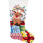 APHOME CREATIONS6206 Gift Wrapped Reindeer Stocking Alice Peterson HOME CREATIONS !