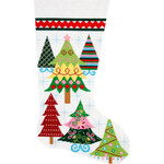APHOME CREATIONS6208 Merry Christmas Trees Stocking Alice Peterson HOME CREATIONS !