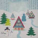 AP2749 Winter Scene Pillow II Alice Peterson 18 Mesh 8.75 x 8.75 !