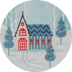 APX252 Winter Scene Church Alice Peterson 18 Mesh 4″  !
