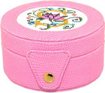 BAG29P Lee's Needle Arts Pink round 4in x 2in Gift box, fully lined. Use BJ designs