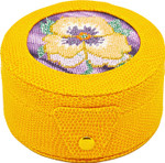 BAG29Y Lee's Needle Arts Yellow round 4in x 2in Gift box, fully lined. Use BJ designs