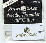 Mill Hill Needle Threader w/cutter Two small eye needle threaders with cutter