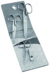 Dovo DV25 Stainless steel 3 piece scissor set, ice silver-white leather case with hanging option.