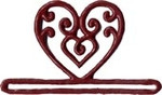 """MHMMH1 Mill Hill Bellpull Red Filagree Heart Metal Shaped ; 3-1/4"""" opening  2"""" h"""