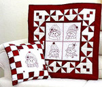 13-1865 Snow People Quilt & Pillow 26.5 x 26.5  Quilting Bobbie G Designs