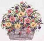 1034 Daisy Basket Black Fabric Kit EdMar Brazilian Dimensional Embroidery