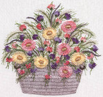 1034 Daisy Basket White Fabric Kit EdMar Brazilian Dimensional Embroidery