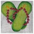 C875 2 Green Bead Flips 4 x 4 13 Mesh Jane Nichols Needlepoint