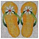 C873 2 Yellow Flowers Flips 4 x 4 13 Mesh Jane Nichols Needlepoint