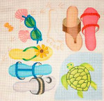 280 Beach Sandals/Turtle 14 x 14	13 Mesh Jane Nichols Needlepoint
