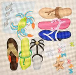 281 Beach Sandals/Crab 14 x 14 13 Mesh Jane Nichols Needlepoint