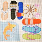283 Beach Sandals/Gold Fish 14 x 14 13 Mesh Jane Nichols Needlepoint