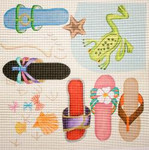 284 Beach Sandals/Frog 14 x 14 13 Mesh Jane Nichols Needlepoint