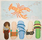 285 Beach Sandals/Lobster 14 x 14 13 Mesh Jane Nichols Needlepoint