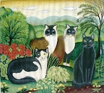DP-AN10 Four Cats 9x12 Diane Ulmer Pedersen